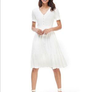 Angela Linen Flounce Hem Button Front A-Line Dress